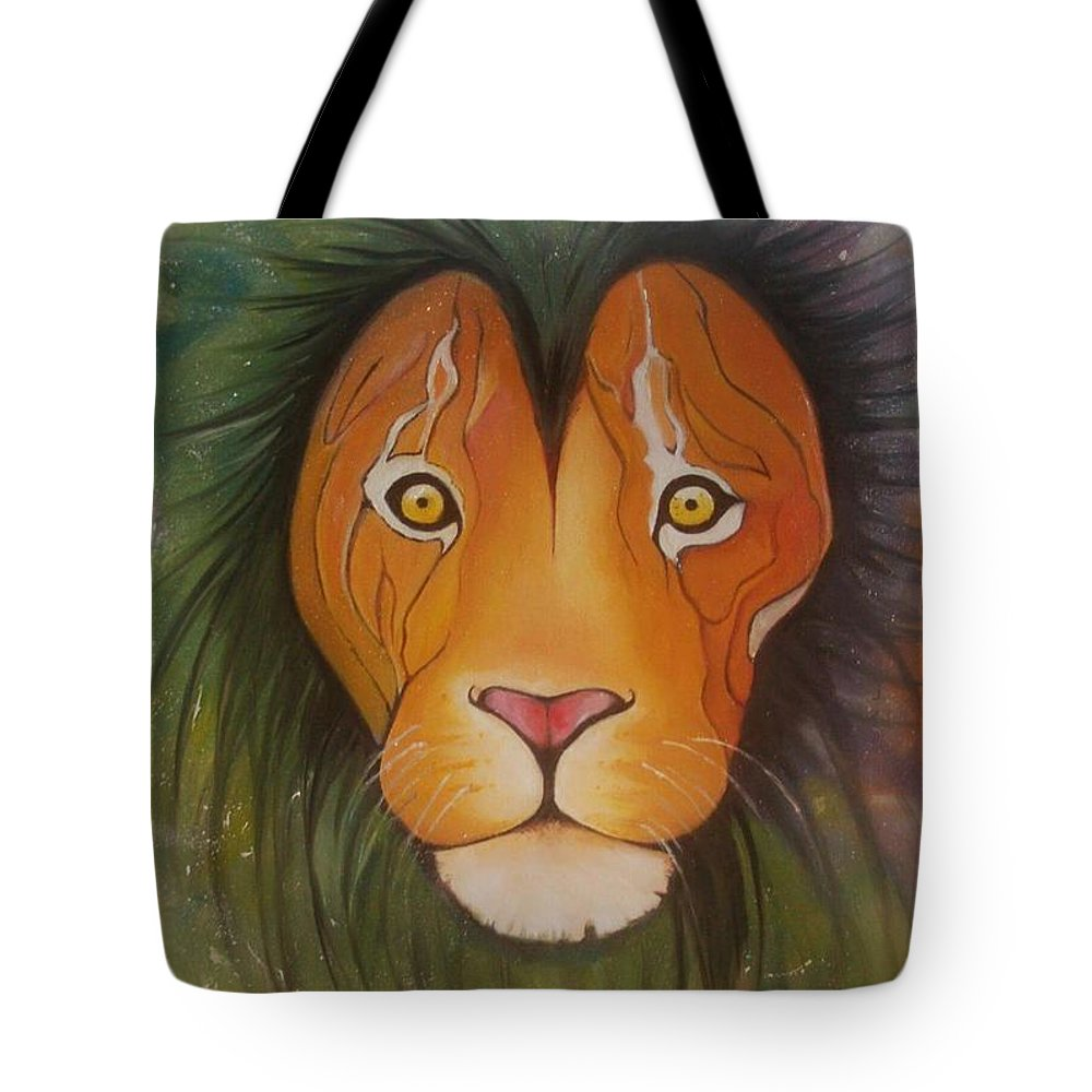 #lion #oilpainting #animal #colorful Tote Bag featuring the painting Lovelylion by Anne Sue