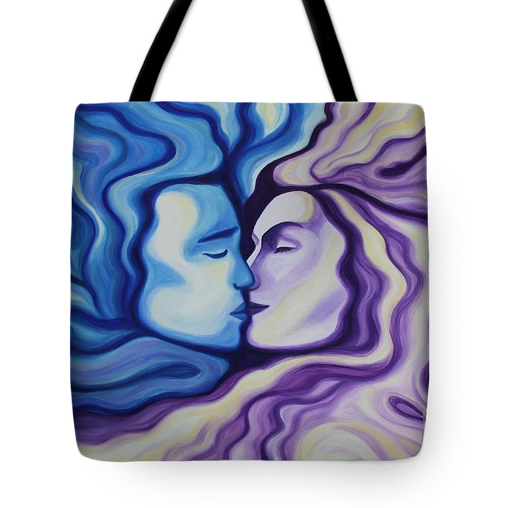 Acrylic Tote Bag featuring the painting Lovers In Eternal Kiss by Jindra Noewi