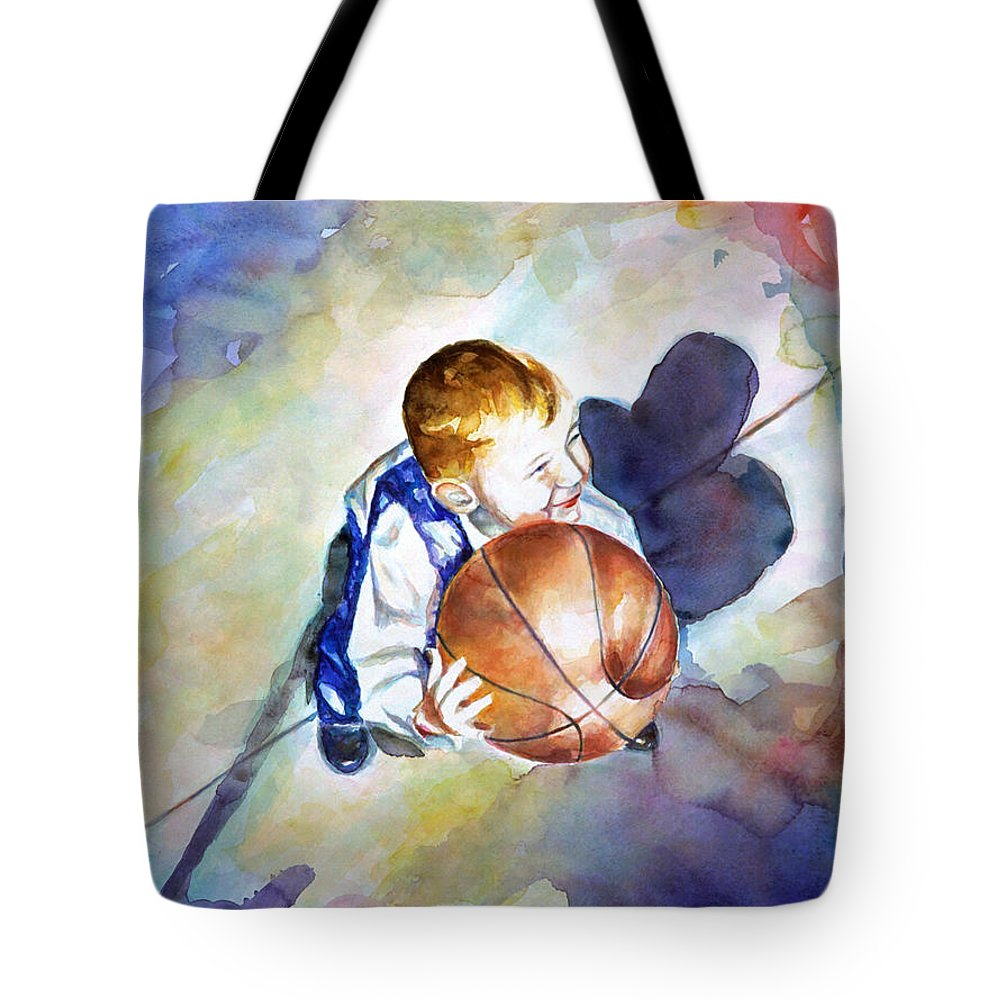 Watercolor Tote Bag featuring the painting Loves the Game by Shannon Grissom