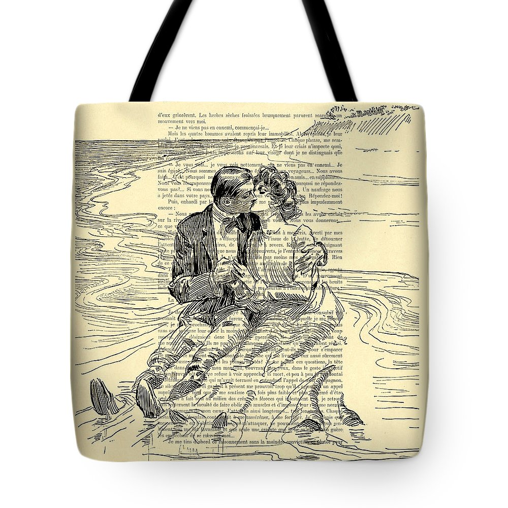 Loving Couple Tote Bag featuring the digital art Loving Couple By The Sea by Madame Memento