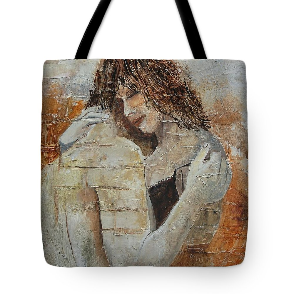 Girl Tote Bag featuring the painting Loving Couple by Pol Ledent