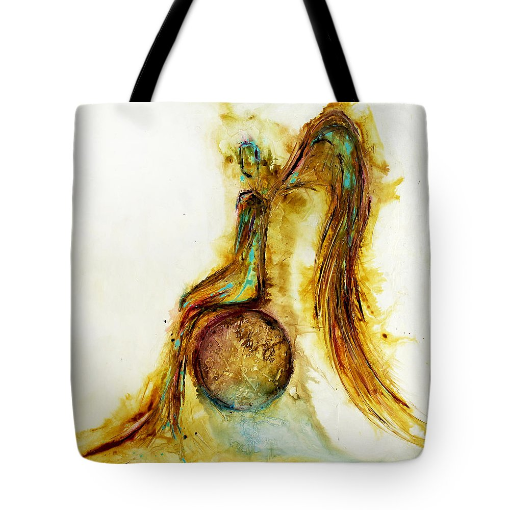 Angel Tote Bag featuring the painting Loving by Ivan Guaderrama