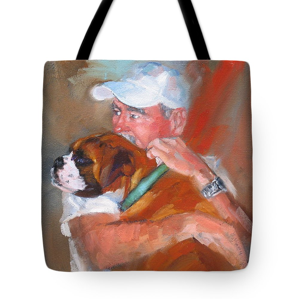 Oil Painting Tote Bag featuring the painting Loving Roxie by Laura Lee Zanghetti