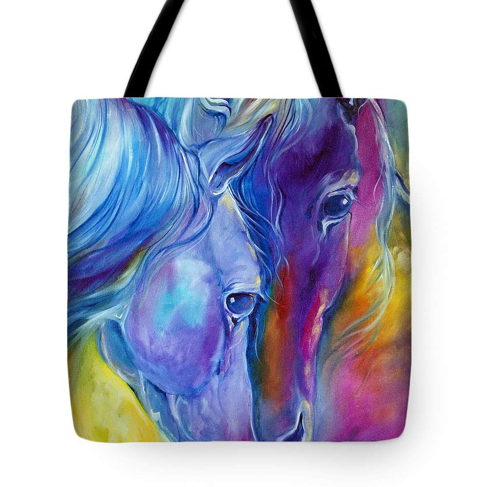 Color Tote Bag featuring the painting Loving Spirits by Marcia Baldwin