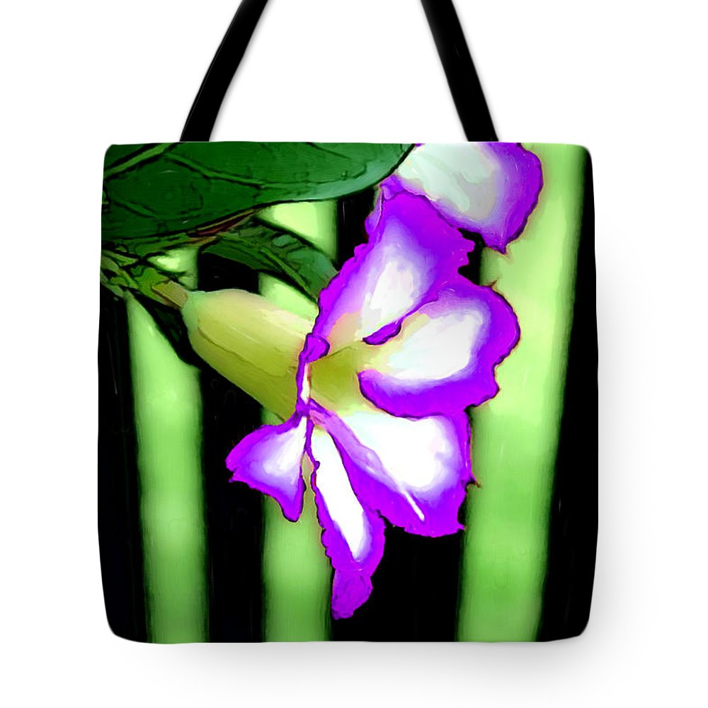 Bruce Tote Bag featuring the painting Loving The Color Purple by Bruce Nutting