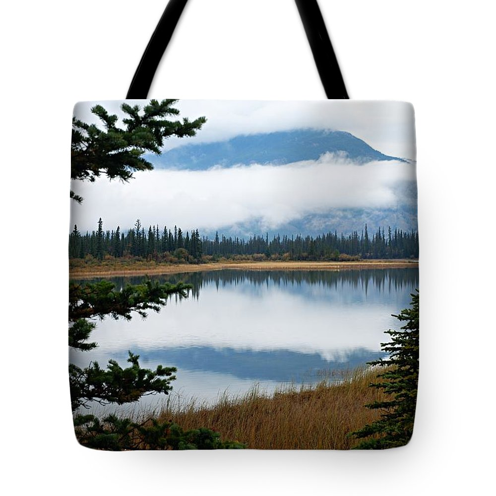 Athabasca River Tote Bag featuring the photograph Low Hanging Clouds by Larry Ricker