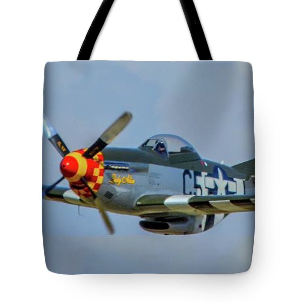 North American P-51 Mustang Tote Bag featuring the photograph Low Pass by Tommy Anderson