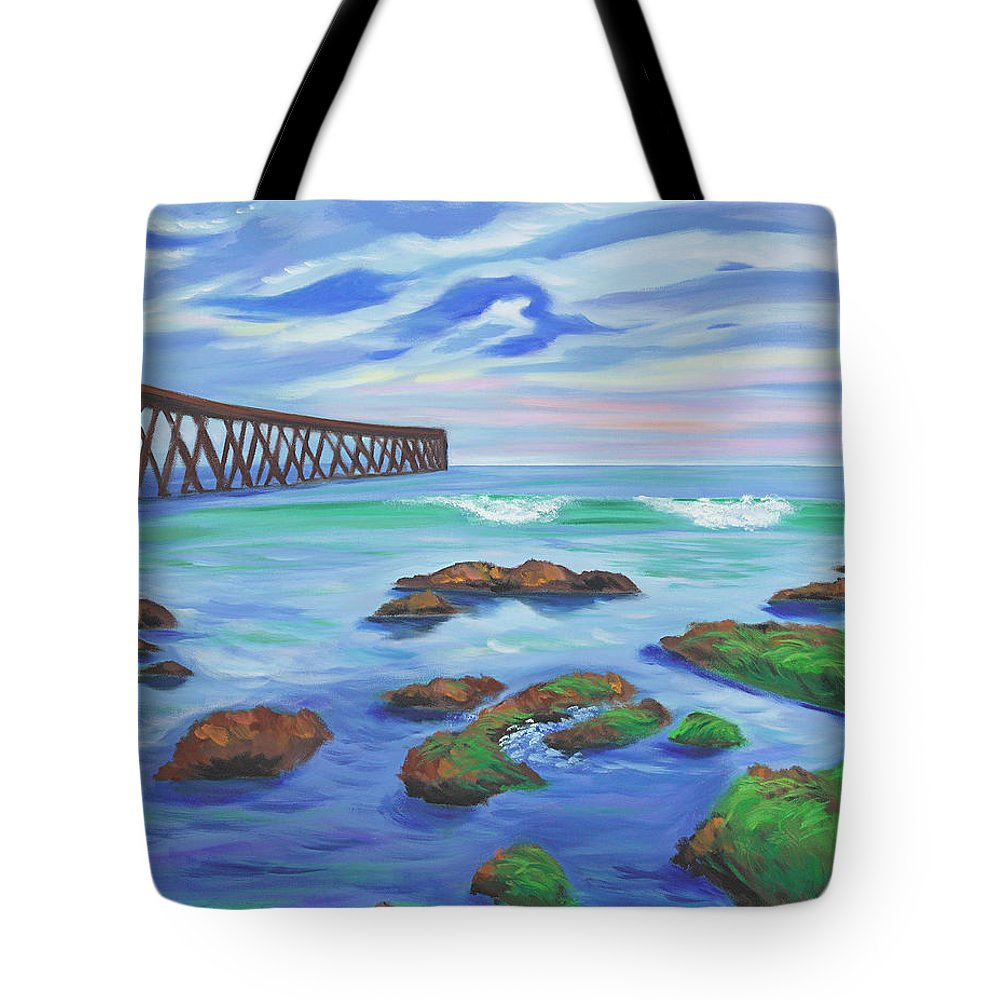Oceanscape Tote Bag featuring the painting Low Tide At Haskell's Beach by Tanda Jacobs