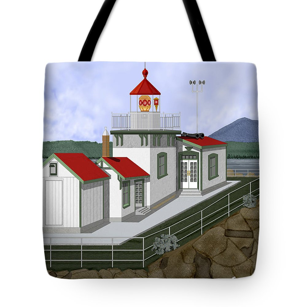 Lighthouse Tote Bag featuring the painting Low Tide At West Point Lighthouse In Seattle by Anne Norskog