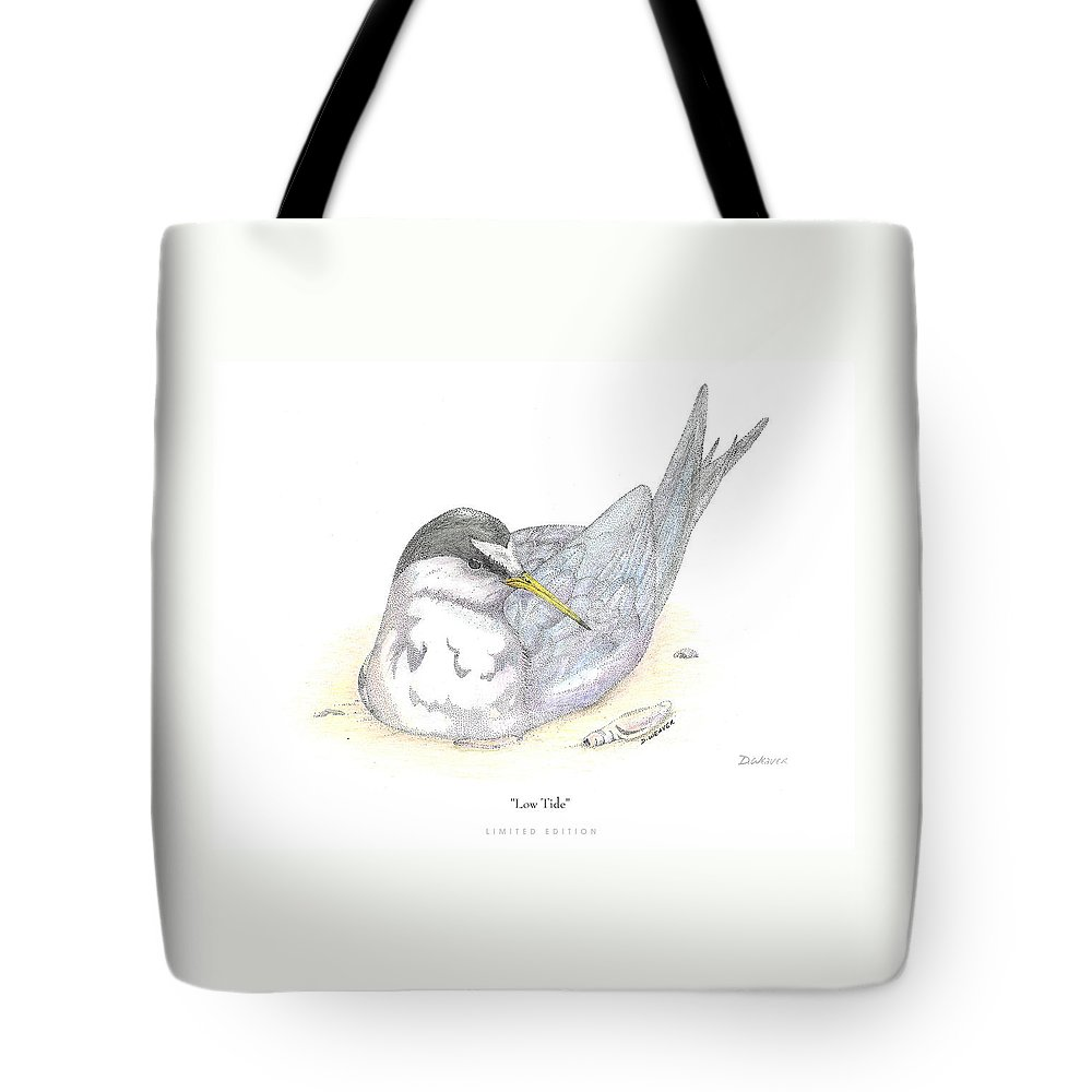 Bird Nesting In Sand Tote Bag featuring the drawing Low Tide by David Weaver
