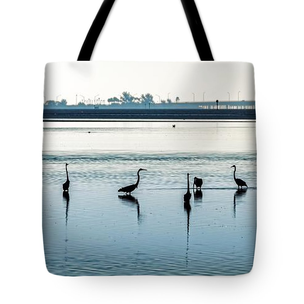 Seashore Tote Bag featuring the photograph Low Tide Gathering by Steven Sparks