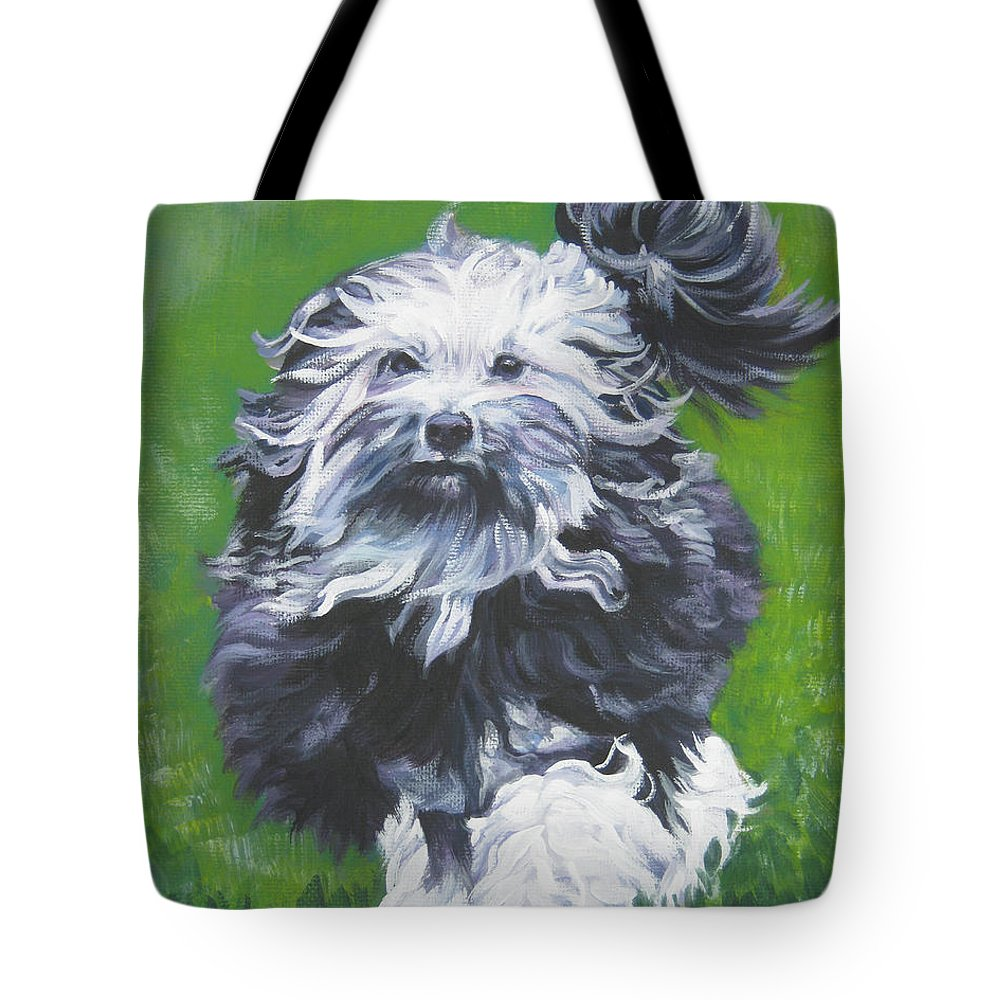 Lowchen Tote Bag featuring the painting Lowchen by Lee Ann Shepard