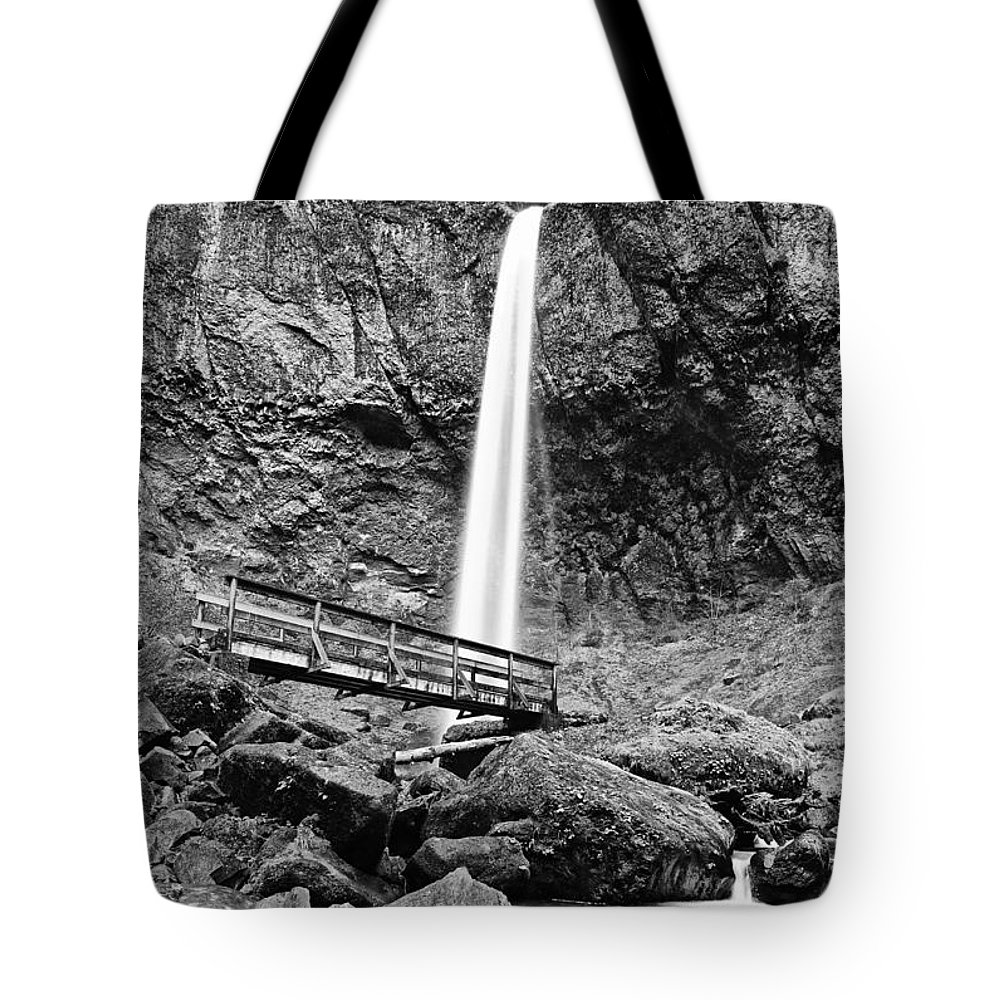 Elowah Falls Tote Bag featuring the photograph Lower Angle Of Elowah Falls In The Columbia River Gorge by Jamie Pham