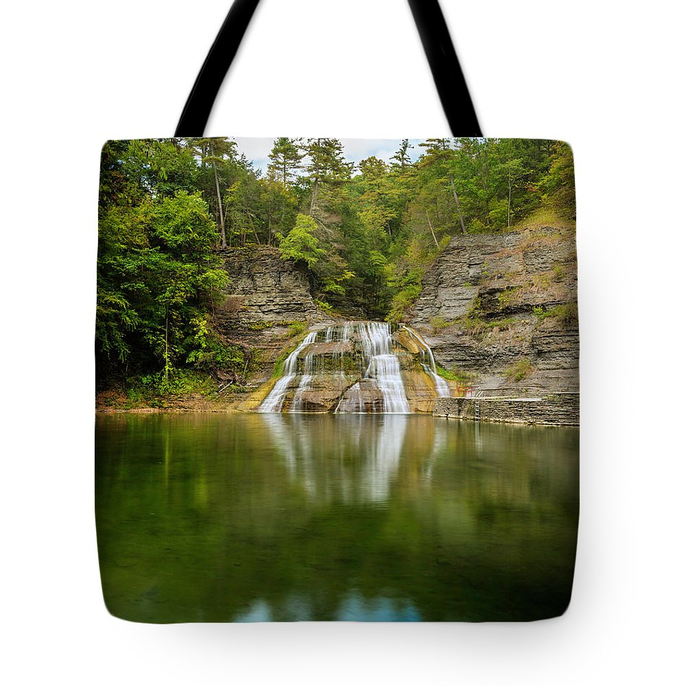 New York Tote Bag featuring the photograph Lower Falls Of Enfield Glen Early Autumn by Karen Jorstad