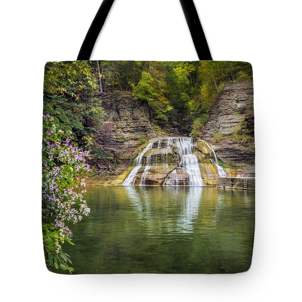 New York Tote Bag featuring the photograph Lower Falls Of Enfield Glen Robert H. Treman State Park by Karen Jorstad