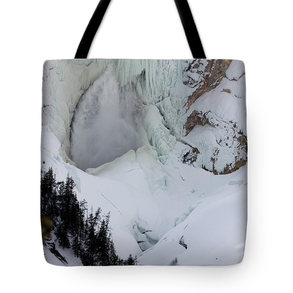 Landscape Tote Bag featuring the photograph Lower Falls Of Yellowstone II by Mary Haber