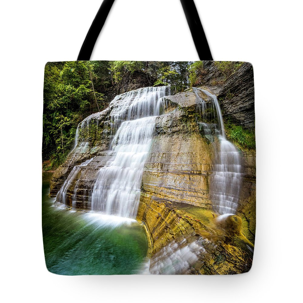 New York Tote Bag featuring the photograph Lower Falls Profile At Enfield Glen by Karen Jorstad