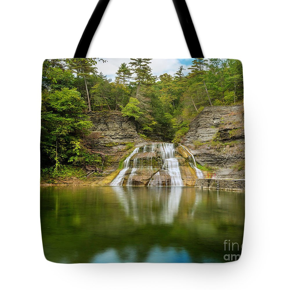 New York Tote Bag featuring the photograph Lower Falls Reflection Of Enfield Glen by Karen Jorstad