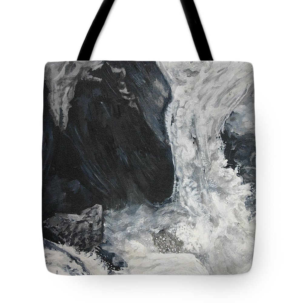 Water Tote Bag featuring the painting Lower Vernal Black And White by Travis Day