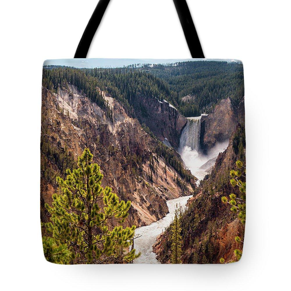 Lower Yellowstone Canyon Falls Waterfall Landscape Yellowstone National Park Wyoming Tote Bag featuring the photograph Lower Yellowstone Canyon Falls 5 - Yellowstone National Park Wyoming by Brian Harig