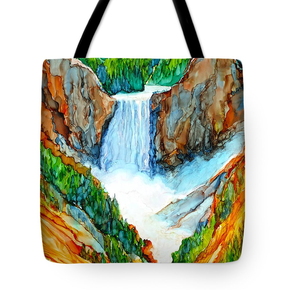 Yellowstone Tote Bag featuring the painting Lower Yellowstone Falls by Diane Bay