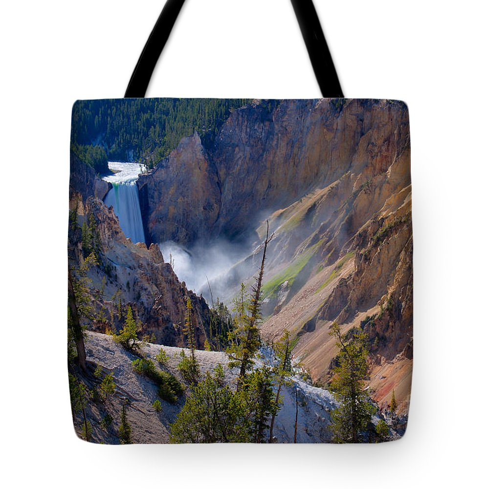 Yellowstone Tote Bag featuring the photograph Lower Yellowstone Falls by Idaho Scenic Images Linda Lantzy