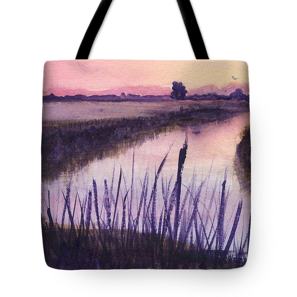 Everglades. Loxahatchee Tote Bag featuring the painting Loxahatchee Sunset by Donna Walsh