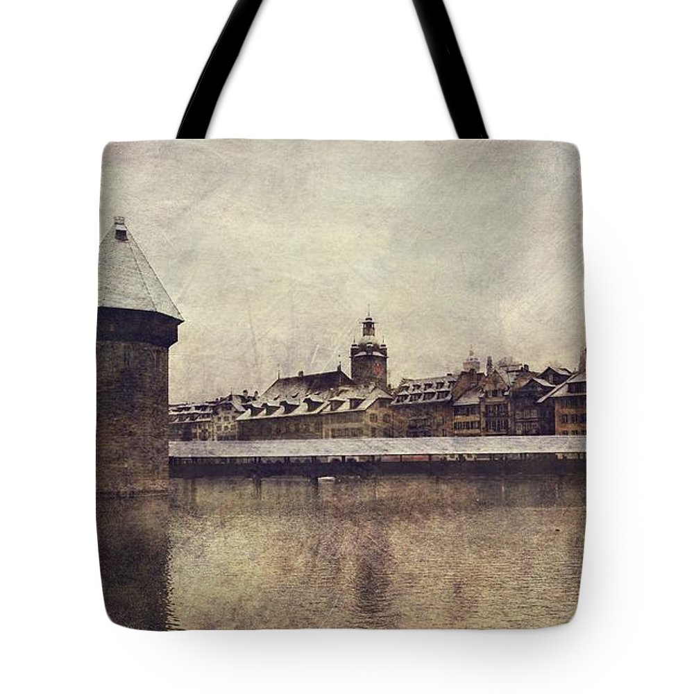 Cityscape Tote Bag featuring the photograph Lucerna, Kapellbrucke by Vittorio Chiampan