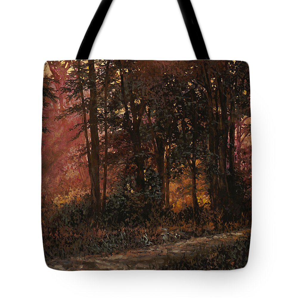 Wood Tote Bag featuring the painting Luci Nel Bosco by Guido Borelli
