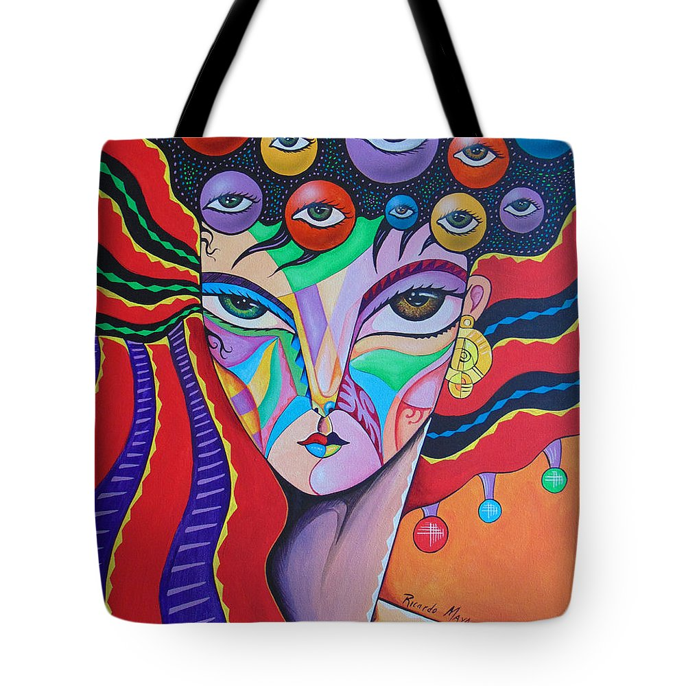 Cubism Woman Face Cubism Woman Art Deco Face Tote Bag featuring the painting Lucia by Ricardo Maya