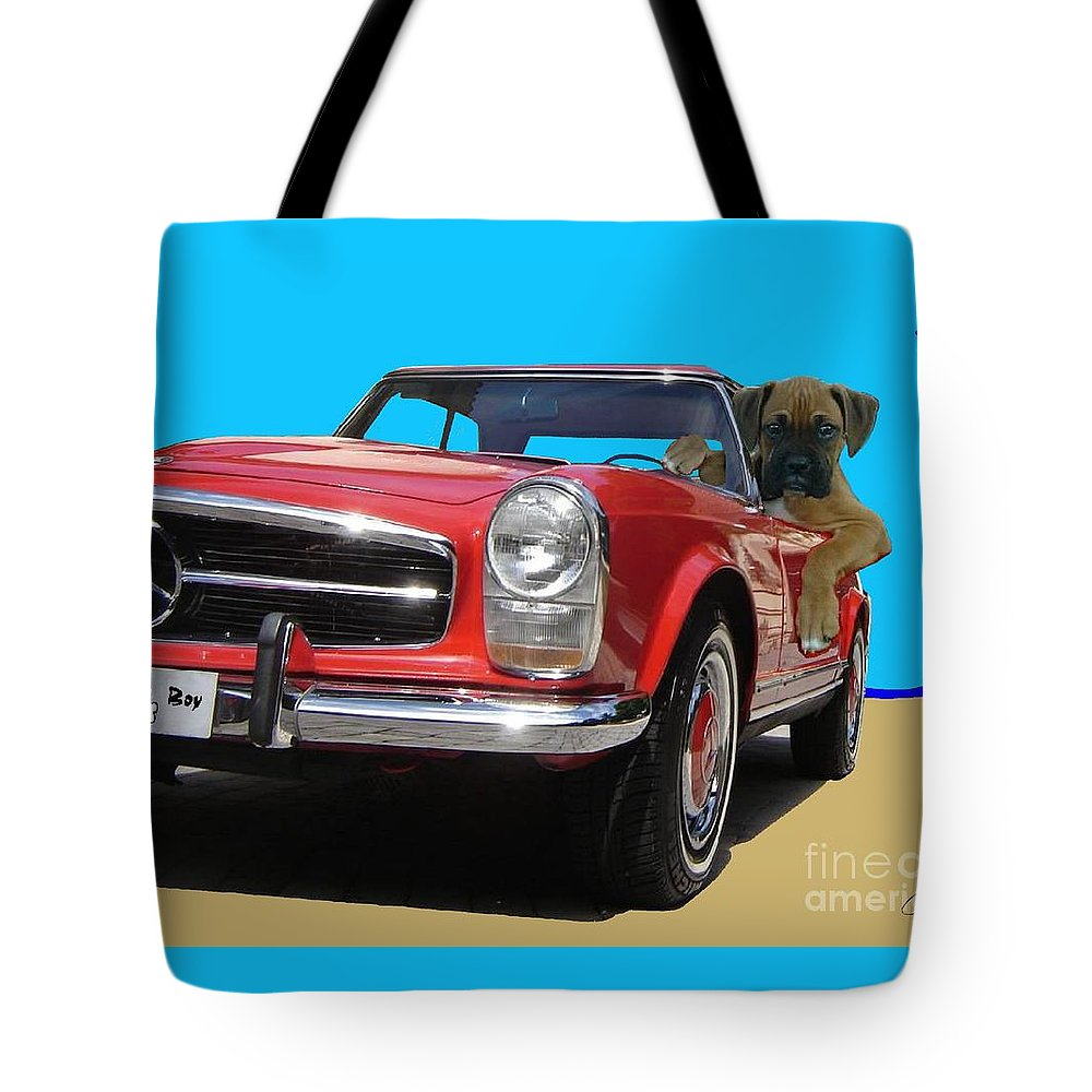 Pets Portraits. Pets Art Tote Bag featuring the painting Lucky Boy by Sinisa Saratlic