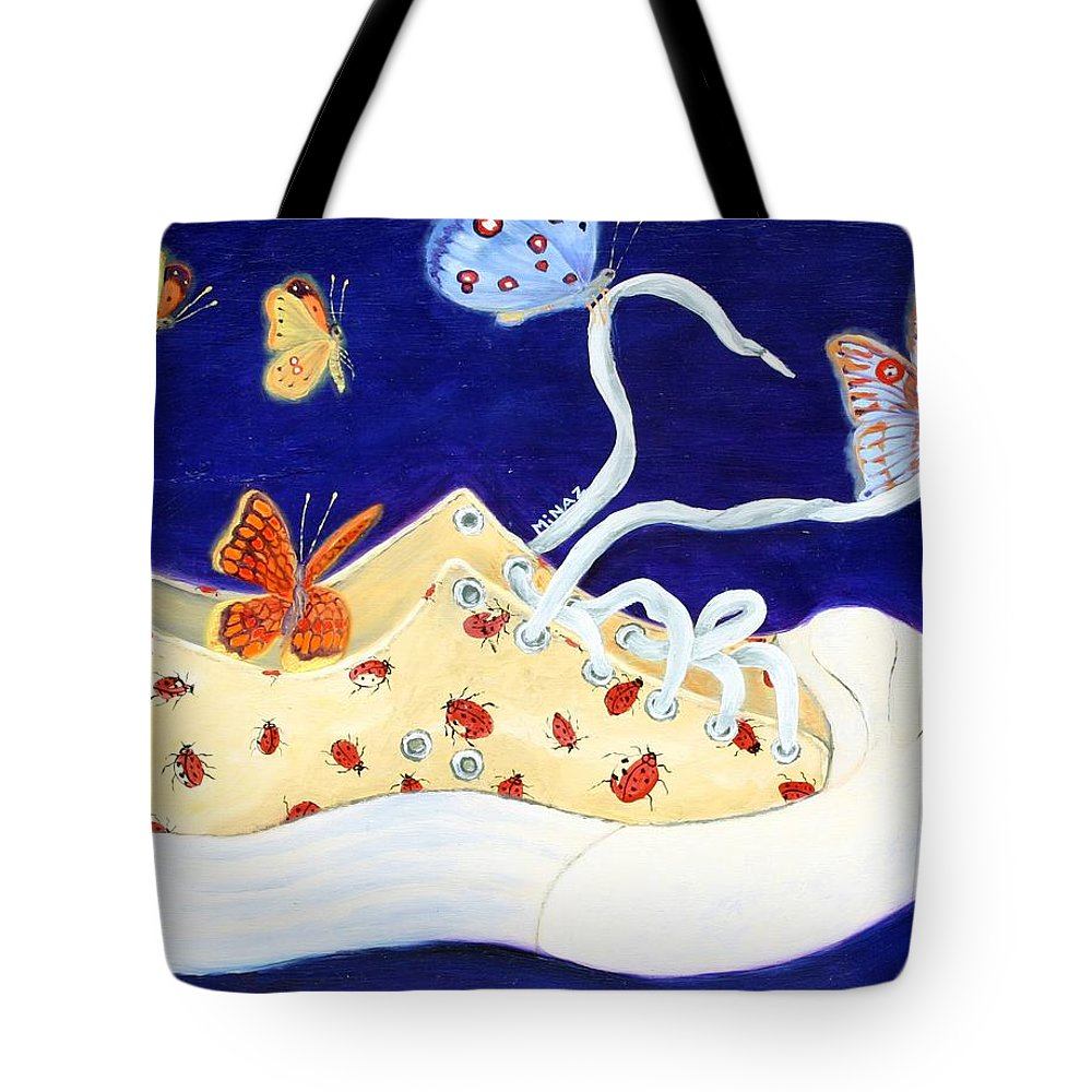 Running Shoes Tote Bag featuring the painting Lucky Lady Bug Shoe by Minaz Jantz