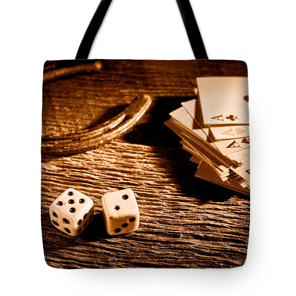 Craps Tote Bag featuring the photograph Lucky - Sepia by Olivier Le Queinec