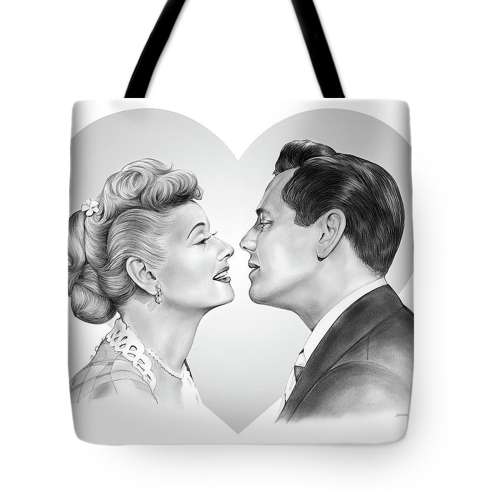 Lucille Ball Tote Bag featuring the drawing Lucy And Desi by Greg Joens