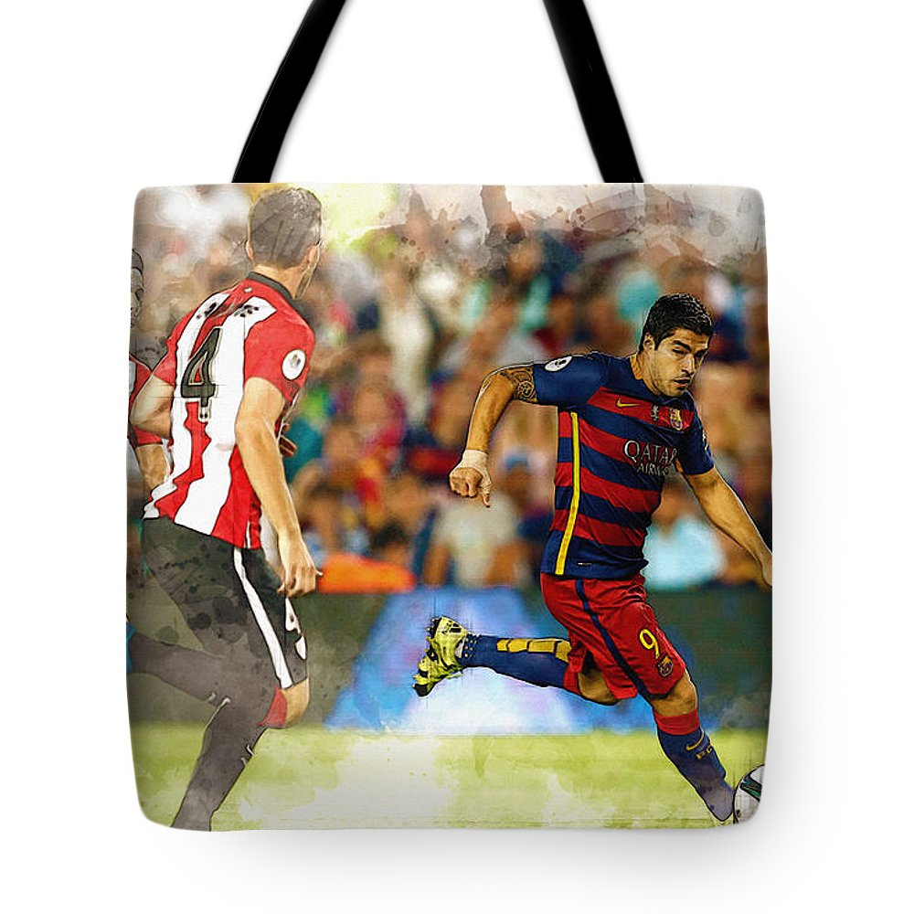 Home Art & Collectibles Tote Bag featuring the digital art Luis Suarez Takes The Ball Past Athletic Bilbao's Eneko Boveda A by Don Kuing