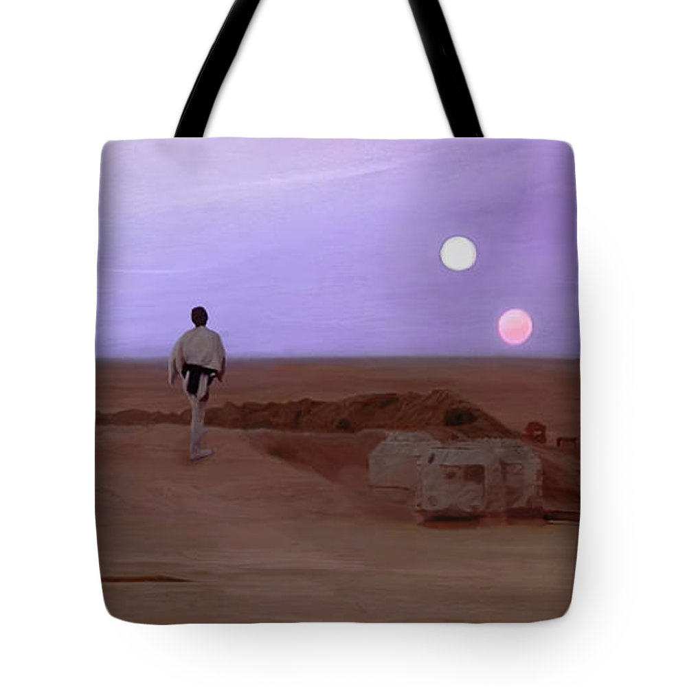Tatooine Tote Bag featuring the mixed media Luke Skywalker Tatooine Sunset by Mitch Boyce