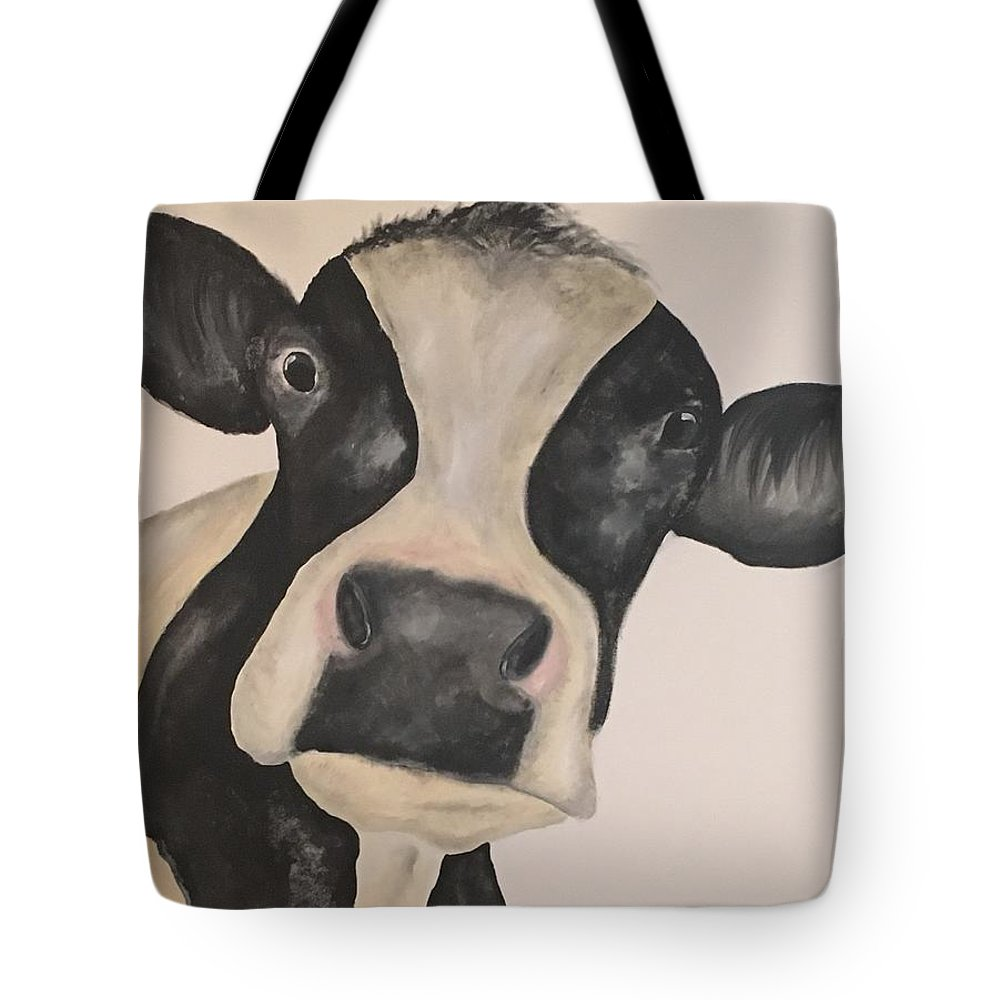 Cow Tote Bag featuring the painting Lulu by Kimberly Daily