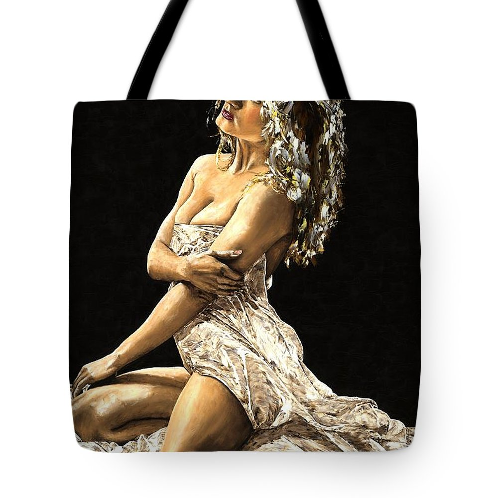 Nude Tote Bag featuring the painting Luminous by Richard Young
