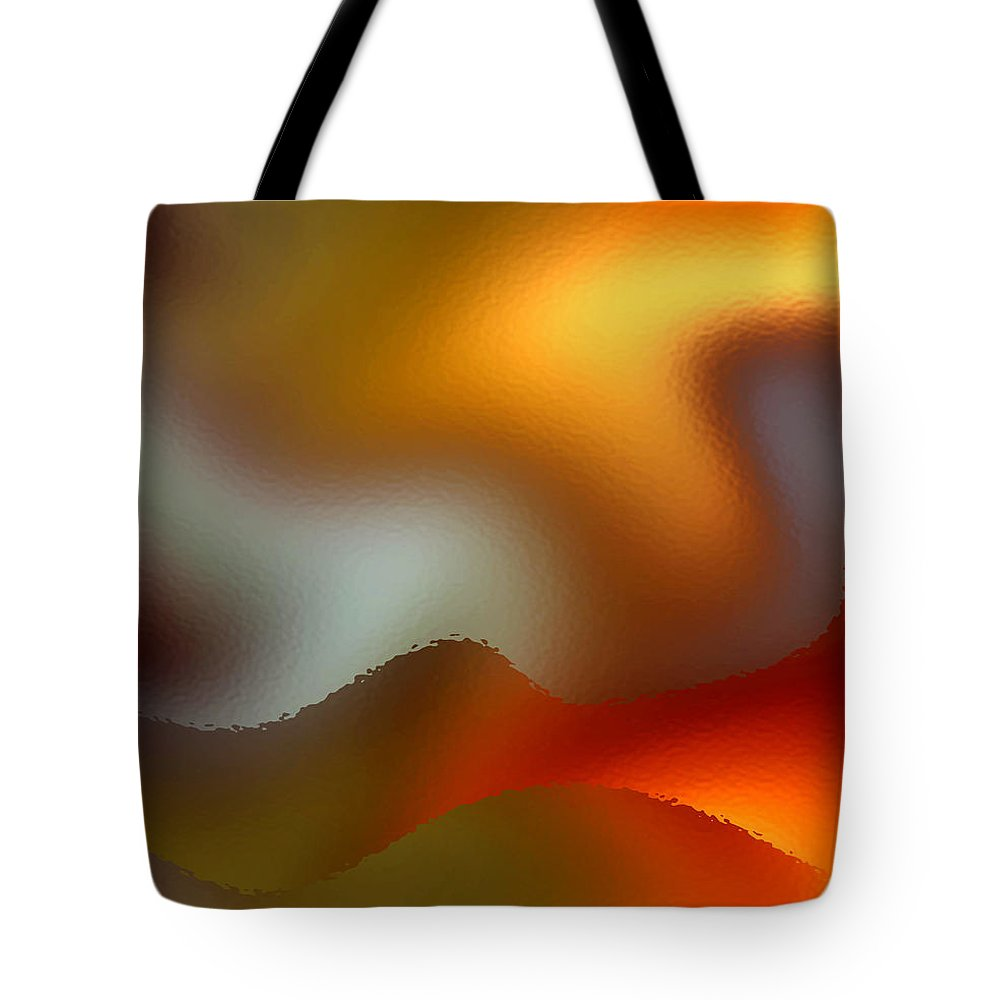 Abstract Tote Bag featuring the digital art Luminous Waves by Ruth Palmer