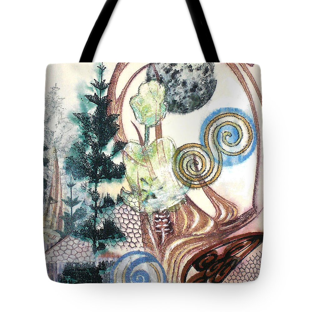 Abstract Tote Bag featuring the painting Luna 1 by Valerie Meotti