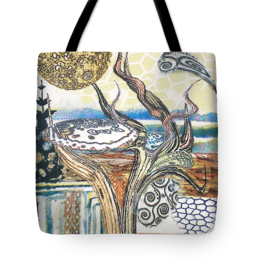 Abstract Tote Bag featuring the painting Luna 2 by Valerie Meotti