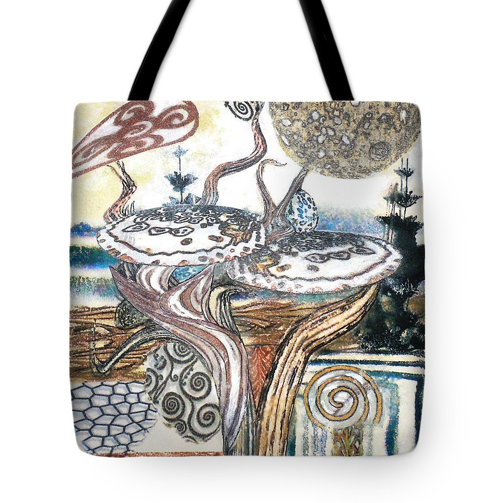 Abstract Tote Bag featuring the painting Luna 3 by Valerie Meotti