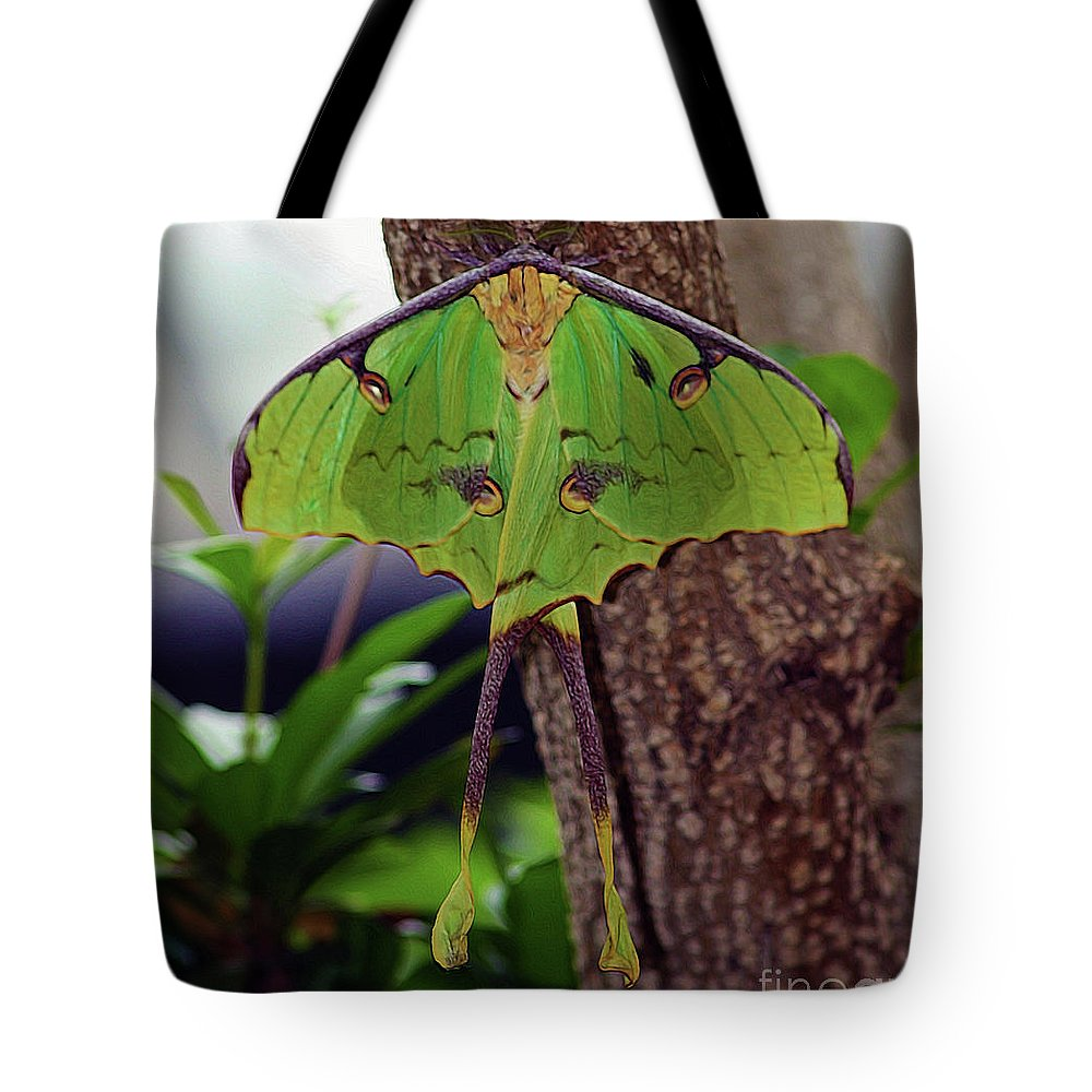Luna Moth Tote Bag featuring the photograph Luna Moth by Patti Whitten