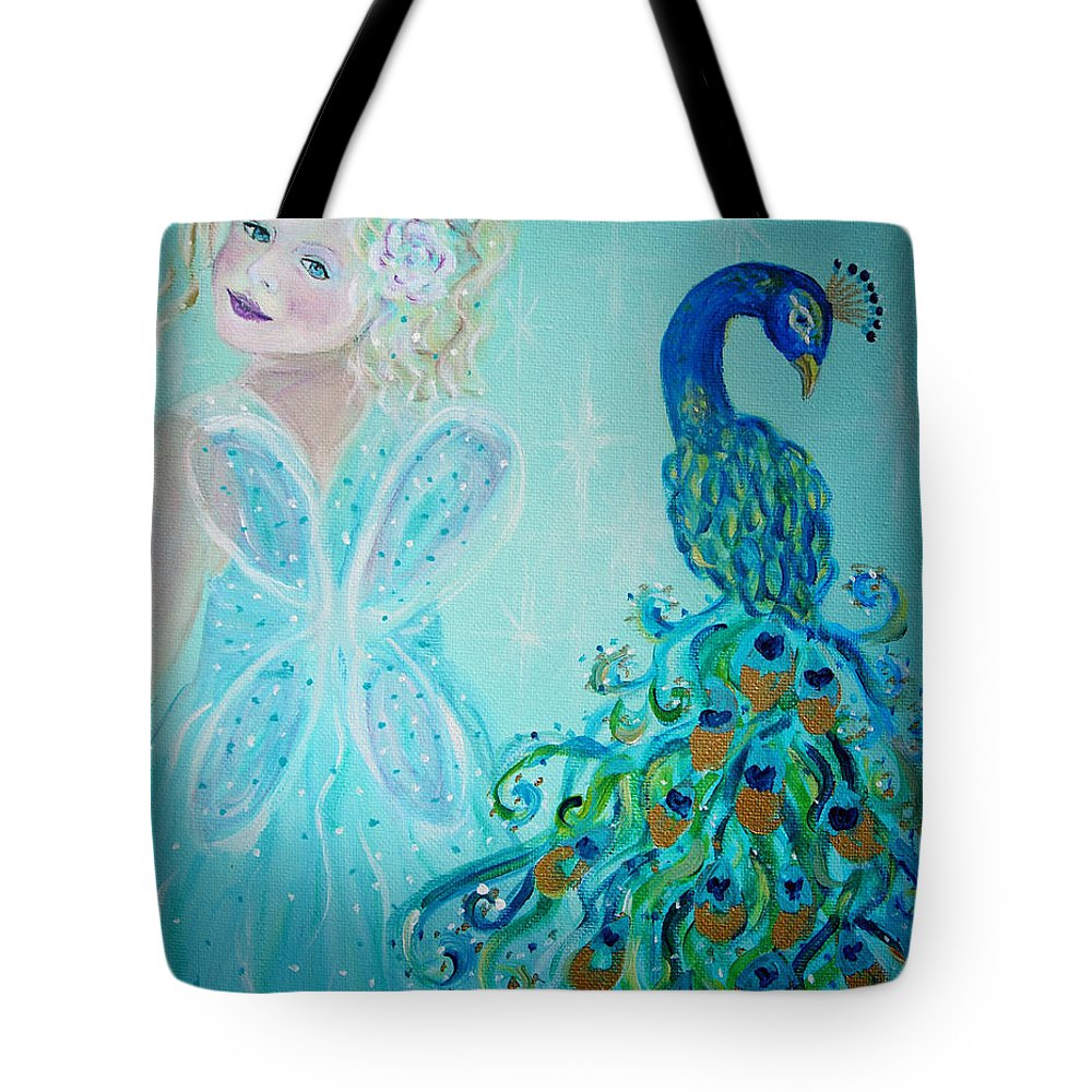 Peacock Tote Bag featuring the painting Luna Shows Her Feathers by The Art With A Heart By Charlotte Phillips