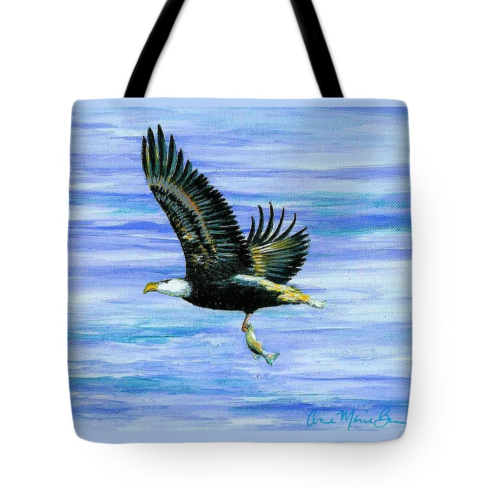 Eagle Tote Bag featuring the painting Lunch At Last by Anne Marie Brown