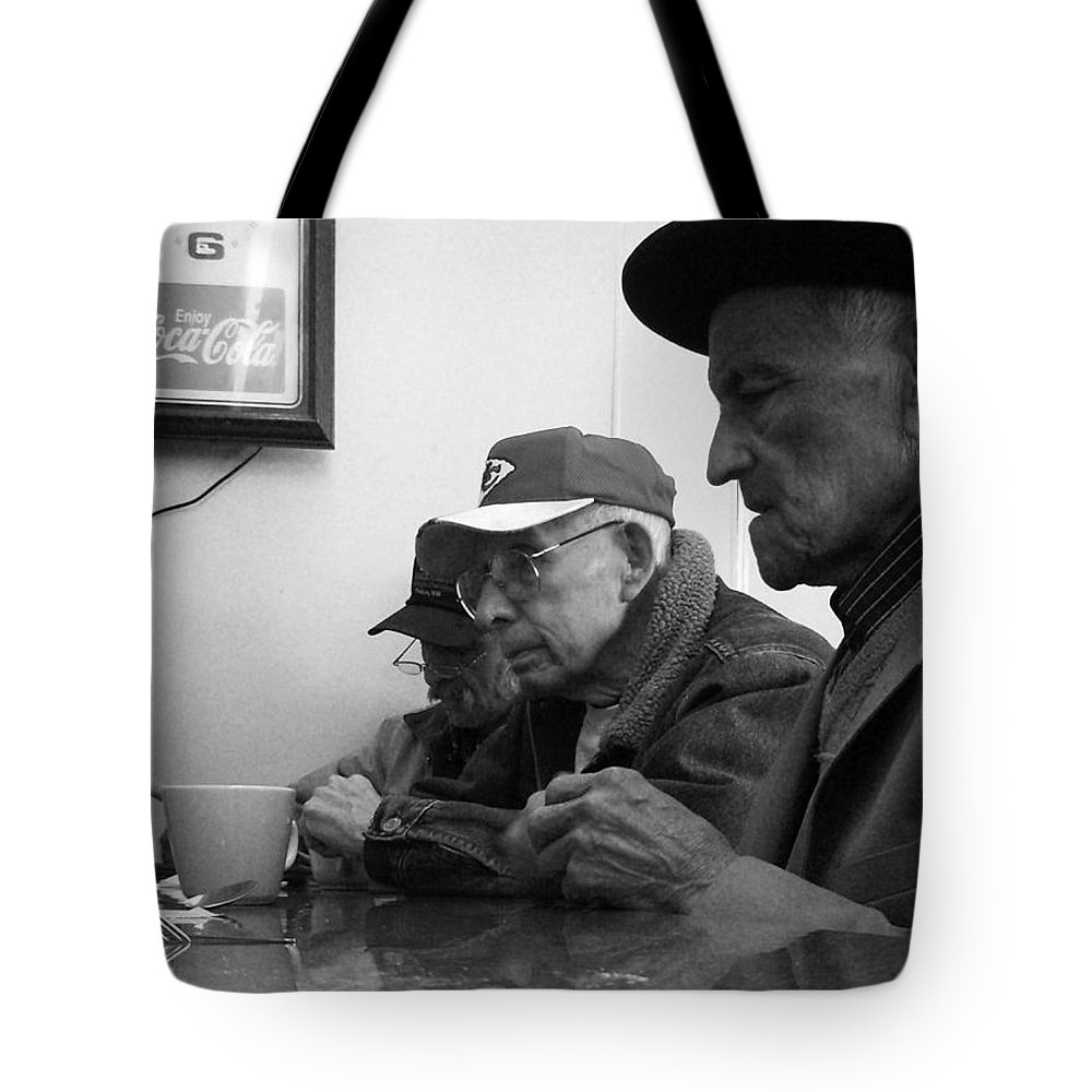 Diner Tote Bag featuring the photograph Lunch Counter Boys - Black And White by Tim Nyberg