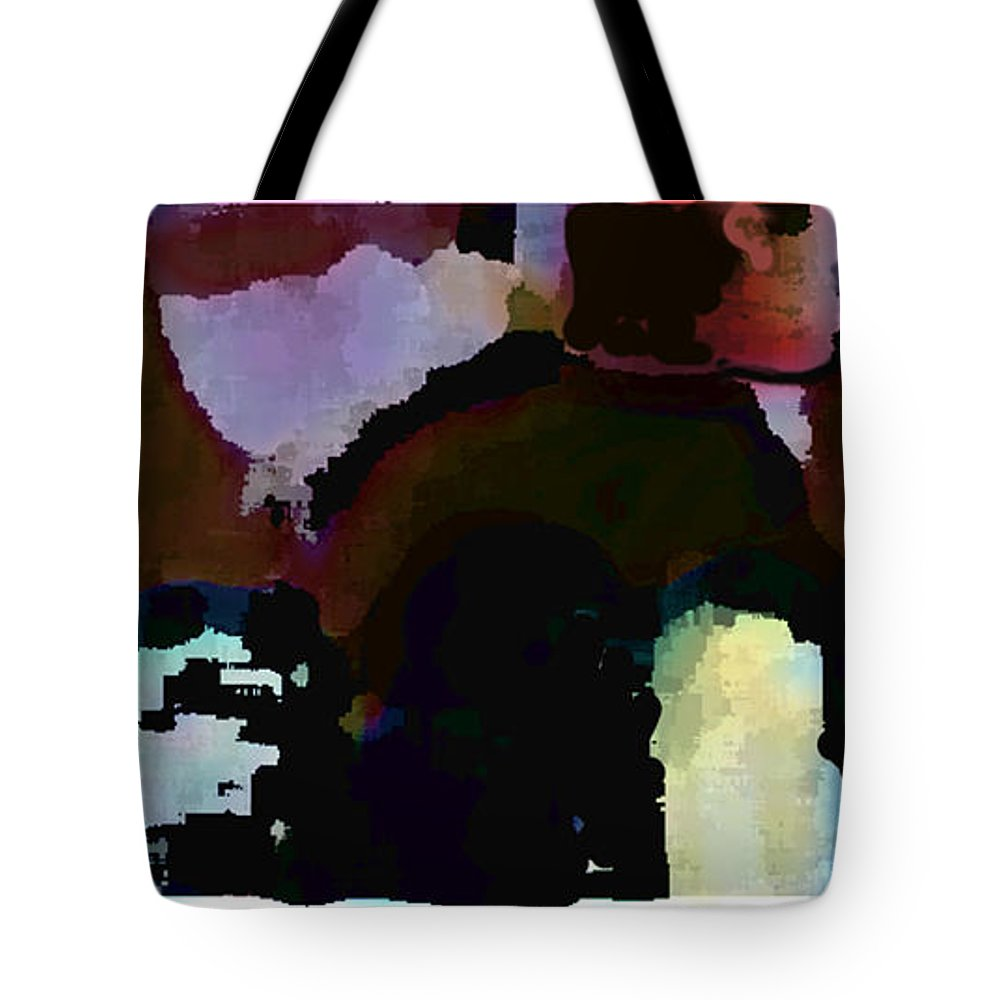 Abstract Expressionism Tote Bag featuring the painting Lunch Counter by Steve Karol