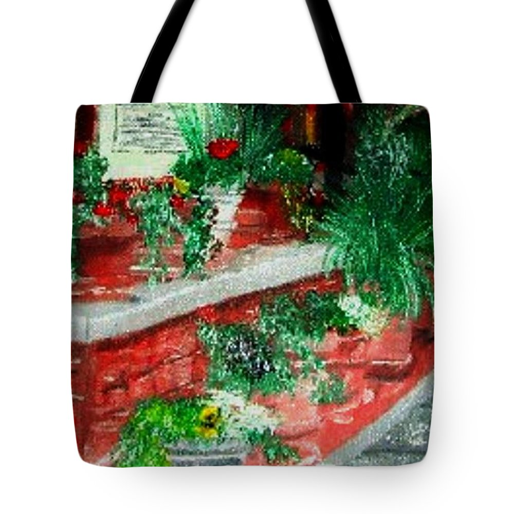 Solvang Tote Bag featuring the painting Lunch In Solvang Ca. by Leslye Miller