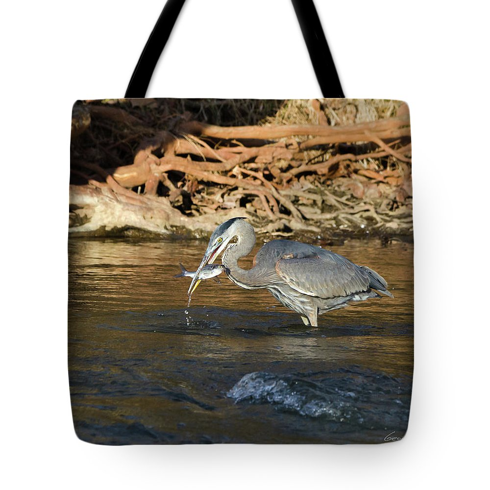 Heron Tote Bag featuring the photograph Lunch On The Neuse River by George Randy Bass