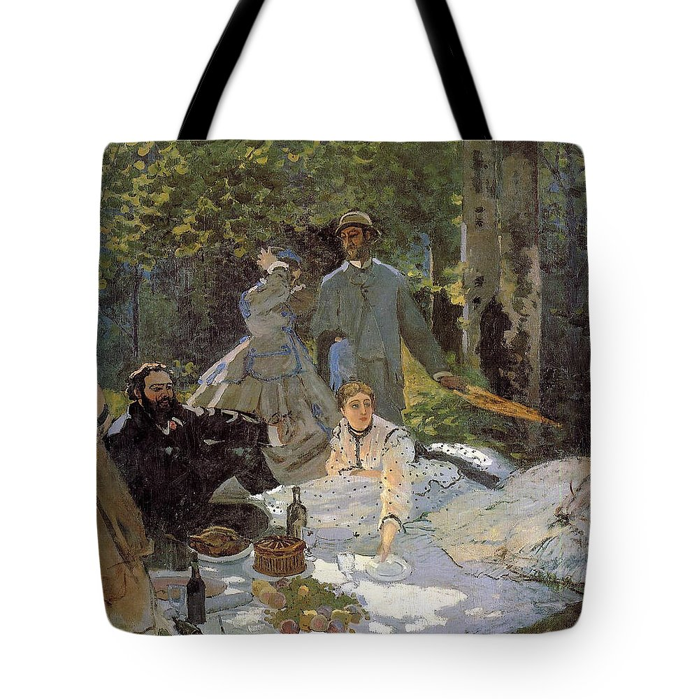 Claude Monet Tote Bag featuring the painting Luncheon On The Grass, Centre Panel by Claude Monet